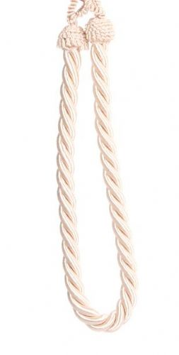 CREAM PLAIN COLOUR PAIR OF ROPE CORDED TIEBACKS